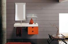 meubles salle de bains modernes, miroir LED et murs gris