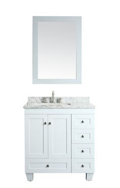Image Gallery For Website Eviva EVVN Acclaim C Inch Transitional Bathroom Vanity with White Carrera Marble