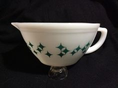 Federal Glass Co BATTER BOWL Dura-White Atomic *Starburst* Turquoise *EXCELLENT*