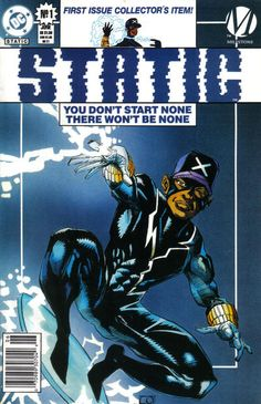 """DC Comics partnered with Milestone to create a mostly-minority superhero universe. Static is Virgil Hawkins, caught up in gang warfare and a """"big bang"""" when toxic chemicals changed him and the gangbangers - BAZINGA! He's electromagnetic! Created by Dwayne Superhero Characters, Comic Book Characters, Comic Book Heroes, Comic Character, Comic Books Art, Comic Art, Book Art, Black Comics, Dc Comics"""