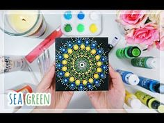 Mandala Dot Painting | SEA GREEN - YouTube