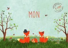 Geboortekaartje Mon - Pimpelpluis - https://www.facebook.com/pages/Pimpelpluis/188675421305550?ref=hl (# meisje - jongen - familie - boom - vosje - dieren - gras - origineel)