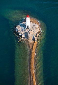 Lighthouse on the undersea rock near Vladivostok, Russia