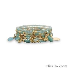 Set of 5 Gold Tone Fashion Stretch Bracelets with Aqua Beads