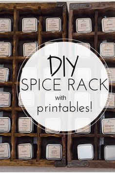 DIY Spice Rack with Printables: This DIY project is easy and SO pretty! We used old Coca-Cola crates mounted on our wall. Apothecary style labels are mod podged onto metal tins for an adorable spice rack!