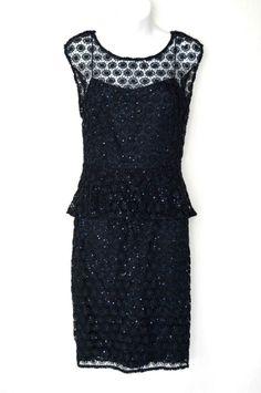 $480 Kay Unger Navy Blue Lace Sequin Peplum Evening Dress Crochet Cocktail - 8