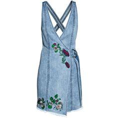 Denim Dress $49.99 (905 EGP) ❤ liked on Polyvore featuring dresses, embroidered dress, short blue dress, denim dress, short dresses and v neck dress