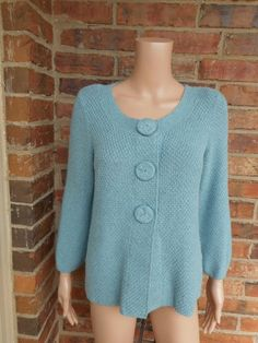 BODEN Chic Textured Cardigan US 8 / US 12 Sweater WK428 Top 3/4 Sleeve Blue M #Boden #Cardigan
