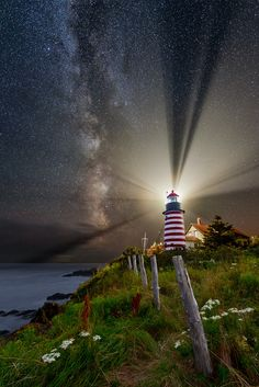 Night over West Quoddy Head Lighthouse, Lubec, Maine, by Michael Blanchette. Lighthouse Lighting, Lighthouse Art, Lighthouse Pictures, Beacon Of Light, Milky Way, Belle Photo, Amazing Nature, Cool Pictures, Beautiful Places