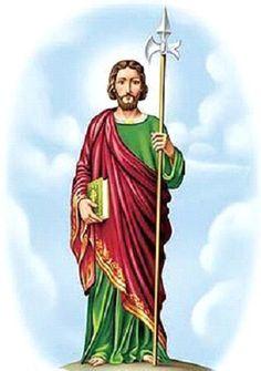 """A imagem de São Judas Tadeu revela muito sobre a vida deste que foi um dos doze apóstolos de Jesus. Além de discípulo e apóstolo, Judas Tadeu era também primo de Jesus, filho de Cléofas, irmão de São José, e de Maria de Cléofas, irmã de Nossa Senhora. Era irmão de Tiago Menor e de Simão. Ele é o autor da """"Carta de Judas"""", o menor livro do Novo Testamento. Na carta, ele pede para os fiéis daquela época afastarem-se dos falsos profetas."""