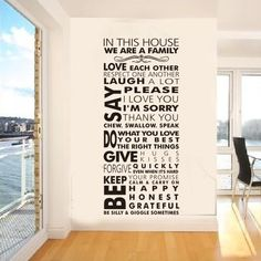 """Famous English family rules/quotes/saying/words """" we are a family"""" decorative pattern fashion waterproof wall stickers $13.28"""