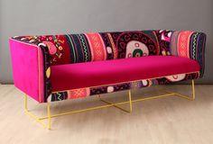 Suzani caja sofá rosa n azul por namedesignstudio en Etsy