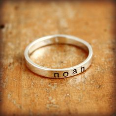 Personalized ring. Sterling silver hand stamped ring - stacking name ring with lowercase letters - Have the 3 boys names on separate rings to stack.