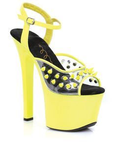 "Ellie Shoes Olar 7"" Neon Platform Black Light Reactive Spikes Yellow Ten, Sexy Wear  www.PlayingNaughty.com  Dare to Be Naughty?  #PlayingNaughty #SexToys #Relationships #Intimacy #Sex #Vibrator #Dildo #Bondage #BDSM #Kink #Shoes #Fashion #Platform"