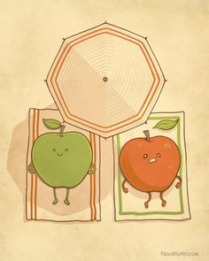 Funny Illustrations and Graphics / Apples and #sun / #Green apple / Cute drawings