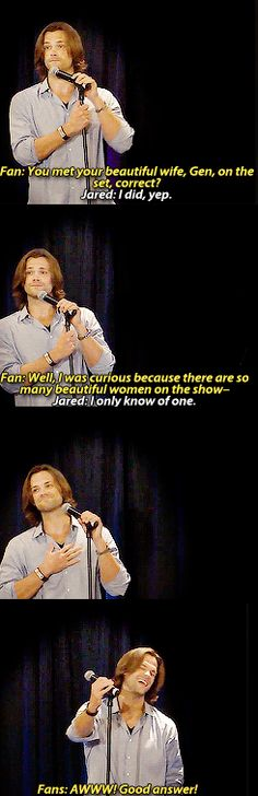 "Smooth Jared. Also, made me ""aw"" out loud. All good girls deserve a Jared and all Jareds deserve a good girl."