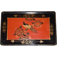 Japanese Black & Red Lacquer Tray with handles ~ Beautiful Pheasant Bird and Flowers ~Japan after 1914