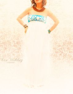 Mexican maxi dress pure romantic gauze wedding by AidaCoronado