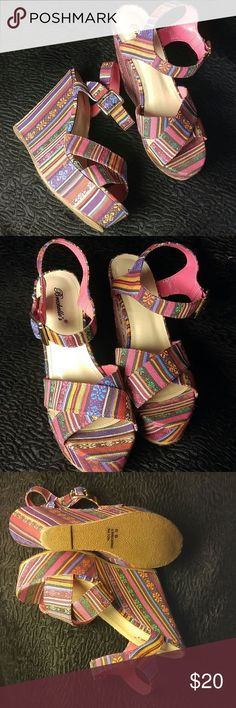 Bohemian Stripe Wedge Sandals 9 Bohemian Stripe Wedge Sandals 9 Wonderful Condition! Can rock these into the fall with black opaque stockings!!  YEA BABY ! Breckelles Shoes