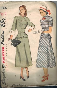1866 Vintage Simplicity Sewing Pattern Misses 1940's Two Piece Dress Sew 14 | eBay