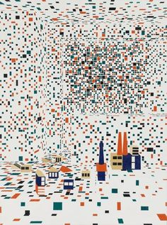 Building the city II - Farah Atassi - 2013 Source: Exponaute Map Collage, Thing 1, Glitch Art, Oeuvre D'art, Les Oeuvres, Print Patterns, Drawings, Prints, Painting