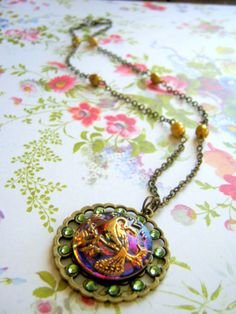 Vintage Style Peacock Pheasant Necklace by CheshireCatJewelry, $42.00