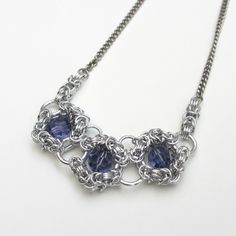 Tanzanite crystal chainmaille necklace - Tattooed and Chained Chainmaille  - 6