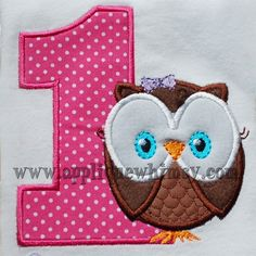 Owl Girl 1st Birthday (5x7) Applique Design