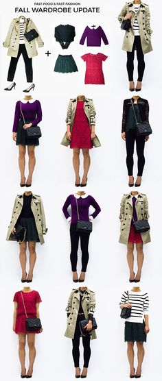 Fall Wardrobe Update; Capsule Wardrobe; Trench Coat; Black and White Stripe Sweater; Red Lace Dress; Purple Peter Pan Collar Sweater; Green Lace Skirt; Black Quilted Bag with Chain; Black Cropped Lace Top; Black Legging Jeans