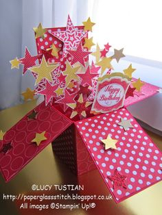 Paper. Glass. Stitch.: EXPLODING STARS BIRTHDAY POP-UP-BOX-CARD  CCC #031