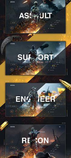 Battlefield UI/UX Design / Web Design on Behance web and app design Web Design Trends, Ui Ux Design, Layout Design, Design Sites, Ui Design Mobile, Design Responsive, Web Design Quotes, Game Ui Design, Website Design Services