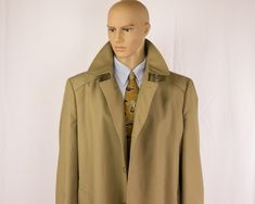 "Vintage Rain Coat, Men's 46L, Mackintosh Style, London Fog, Trench Overcoat, Insulated Liner, Water Repellent, 54"" Bust, Khaki Fashion by VintageThreadsAddict on Etsy"
