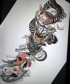 👹🐍🦊💀 Artwork and concept by: Mangiarocce Location: Naples, Italy Art… - Tatuering Irezumi Tattoos, Tatuajes Irezumi, Hannya Tattoo, Geisha Tattoos, Japanese Mask Tattoo, Japanese Tattoo Designs, Japanese Sleeve Tattoos, Tattoo Calf, Arm Tattoo
