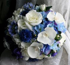 Flowers: Blue Wedding Bouquet Orchids, Ranunculas, Roses, Gardenias by jobywomackdesigns, $224.99