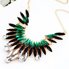 Necklace: stunning gold, black and green crystal necklace...beautiful!! Message me for detail!