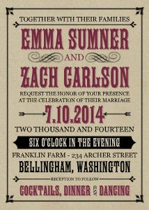 This vintage typography wedding invitation is reminiscent of days past.