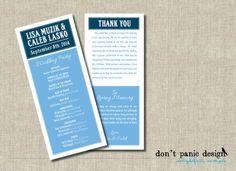 Fun Printable Wedding Program Card In Blue - Custom Colors