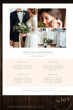 Photography Price List Template Sheet, Photographer Customized PSD Marketing Branding Guide.