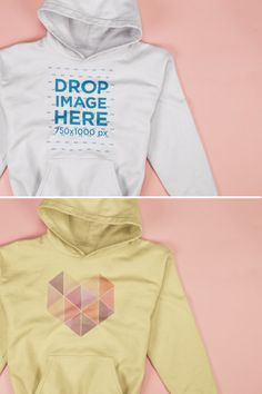 Closeup Mockup of a Pullover Hoodie Lying on a Pink Surface