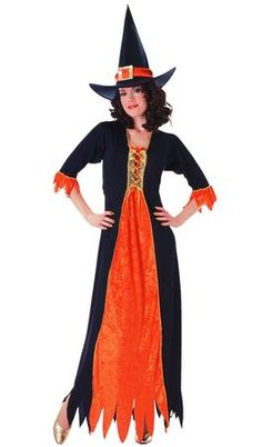 Gothic Witch Adult Costume includes hat & velvet trimmed dress with drawstring. Additional costume accessories sold separately.