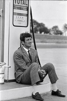 shooting 'PIERROT LE FOU' JeanPaul Belmondo in France in June 1965
