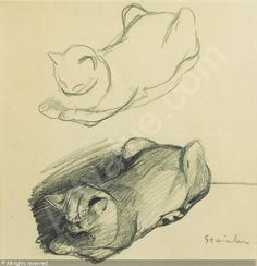 Théophile Alexandre Steinlen - TWO CATS - Pencil