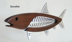 "Mahogany and Polished Metal Bonefish 21"".. Wall Piece..  $300 Pledge"