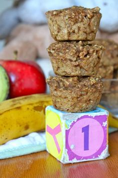 Baby Food Muffins made with avocado, banana, apple & oatmeal. Babies love them!