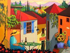 L'apéro est servi by Louise Marion - Louise Marion, artiste peintre, paysage urbain, Quebec, couleurs