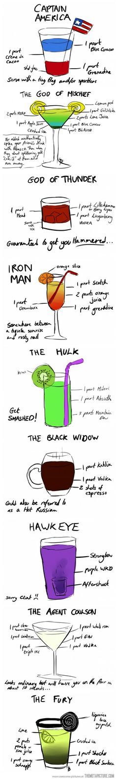 Avengers Cocktails... Only reinforcing my idea of a nerdy themed 21st!