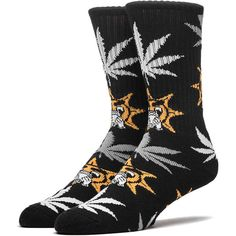 HUF X CHIEF KEEF GLO GANG PLANTLIFE SOCKS BLACK ($14) ❤ liked on Polyvore featuring intimates, hosiery, socks, huf, black hosiery, huf socks and black socks