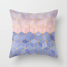 Rose Quartz & Serenity Cubes Throw Pillow by elisabethfredriksson