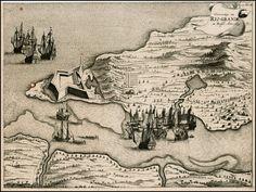 Mapa de 1633 da cidade de Natal- Rio Grande do Norte,  visualizamos o encontro do Rio Potengí com o mar e o Forte do Reis Magos - Brasil