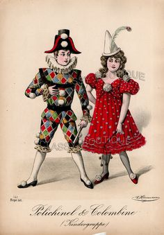 Victorian German Print Theater Icons Polichinelle Pulcinella Colombine Clowns | eBay